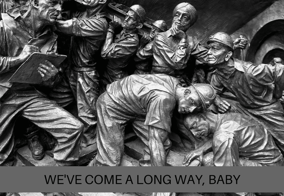 "Bill 148 | Photo depicting miners of a bygone era with the caption ""We;ve come a long way, baby"", below."