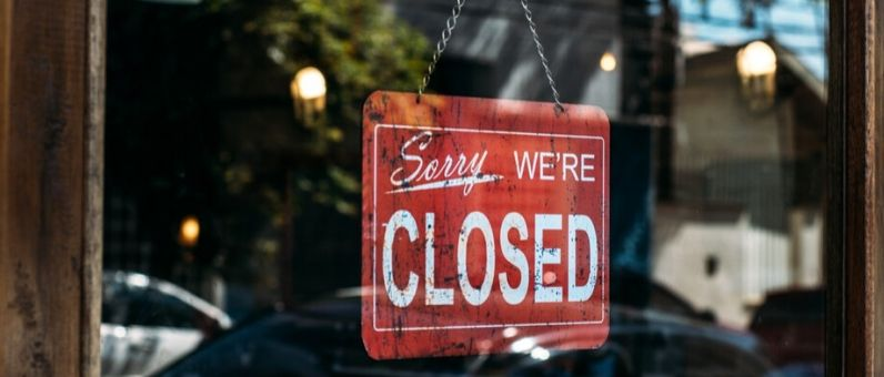 Layoffs and Terminations | Sorry we're closed sign on door